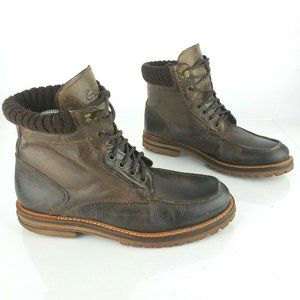GBX Mens Brown Lace-Up Leather Ankle Hiking Boots